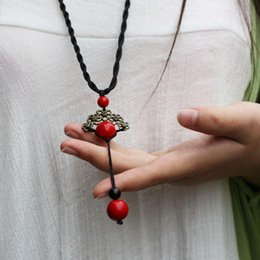 Wholesale new Chinese jewelry ethnic vintage necklace Thailand nature stone turquoise jewelry fashion long sweater necklace
