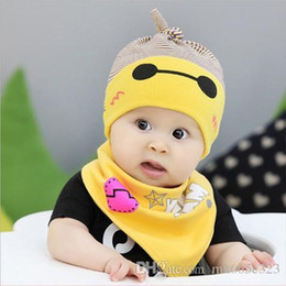 2016 Newborn hat baby caps Hats + scarf cotton 2pcs Sets kids girls boys caps cartoon cute printed set kids Lovely Children bonnet