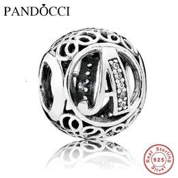 Wholesale Fits Pandora Jewelry Bracelets Sterling Silver Beads Vintage A Clear CZ Authentic Original DIY Fashion Charm