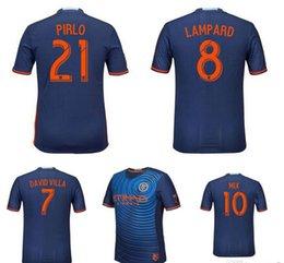 Wholesale Top Quality Season men Blue soccer jersey thailand Uniform Football Jerseys Embroidery Logo David Villa Lampard Mix Pirlo