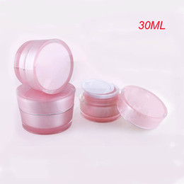 30g PINK acrylic cone-shape cream jar with silver line,plastic cosmetic container 30g,pink cream jar plastic Cosmetic Packaging
