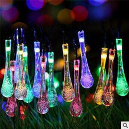 Скидка водить садоводства Солнечный Water Drop Светодиодные строки LED 4,8 метровые сада Рождественские огни строковых Открытый рождественские украшения Светодиодные строки CCA5162 30pcs