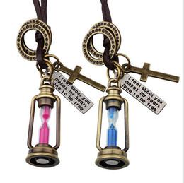 Wholesale 2016 New retro Hot sale necklace woven leather cord necklace Aladdin Mini hourglass punk Collier for men Women Lovers choker