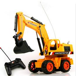 Al por mayor de la ingeniería en venta-Venta al por mayor 25cm-1PCS remoto Escala de Control Digger excavadora de construcción de camiones con la iluminación Ingeniería RC del control de radio del juguete del coche eléctrico