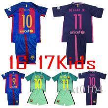 Wholesale new Top Thai child Jerseys Barcelona kids jersey third home away soccer jersey men shirts MESSI NEYMAR SUAREZ fans style ET