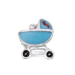 Wholesale Blue Baby Boy Stroller CZ Floating Charms For Living Memory Glass Lockets SH483