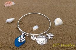 Sea Glass Bangle Bracelet Adjustable Expandable Wire Love Mom Charm D4 JCT ECO®