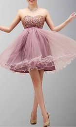 Wholesale Exciting Sweetheart Colorful Beads Bowknot Tulles Hem Short Homecoming Dresses Pearl Pink Online Retailer At an Attractive Price
