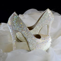 Wholesale 2016 large size fashion fall Super flash diamond crystal set auger high heeled round toe wedding shoes High cm cm cm cm