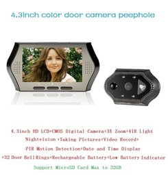 Spanish Menu mirillas puerta digital 4.3inch LCD 0.3Megapixels door camera IR night vision PIR Motion Detection 32 Rings 3X Zoom