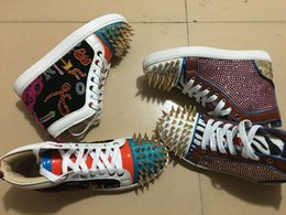 Broderie chaussures plates à vendre-Bas Rouge Chaussures Strass Or Spikes No Limit Embroidery High Top Sneaker Chaussures Hommes, Femmes Hip-Hop Flats Casual Shoes (Livraison gratuite) 35-46