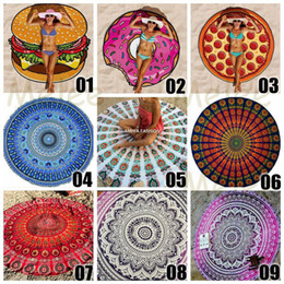 Wholesale 20 Designs Choose Free Round Donut Pizza Hamburger Towel Beach Cover Ups Sexy Beach Towel Chiffon Swimsuit Cover Up Yoga Mat Dim cm