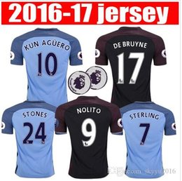 Wholesale best thai quality Manchester city man s soccer Jerseys Home away KUN AGUERO DE BRUYNE STERLING SILVA NOLITO football shirt