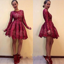 Burgundy Sheer Long Sleeve Full Lace Mini Short Cocktail Dresses 2020 Jewel Neck A Line Short Homecoming Dresses Vintage Formal Party Gowns