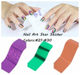 2016 New Transfer Foil Nail Art Star Style Design Stickers Polish Decals Care Many Colors #21-#30 DIY Glitter Beauty Nails Wraps