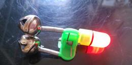 100pcs lot Fishing gear Fashing Twin Rod Bell red Light fish bite bell ring fish alarm bell free shipping