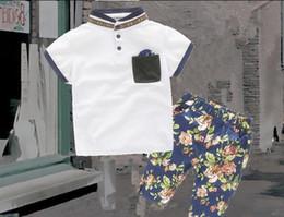 2016 Children Set Kids Suit Outfits baby girls boys Summer short sleeve cotton tops T shirts+Kids print shorts Children clothing kids sets