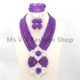 new purple African Beads Jewelry Set Lady Costume Crystal Jewelry Set Dubai Gold Plated Necklace Set Free Shipping