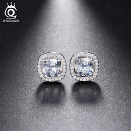 Silver 18K Rose Gold Plated 1ct Cushion Cut Multi Color CZ Crystal Stud Earrings for Girls Fashion Nickel Free Jewelry OE149