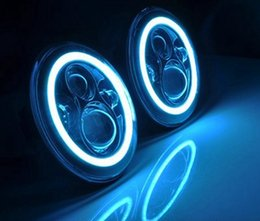"""Pair 40w 4800lm 7"""" round high low beam led headlight with white   blue halo ring driving light for jeep TJ JK CJ Wrangle"""