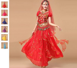 2018 Bollywood Dance Costumes 5pcs(Top+Skirt+Waist Chain+Veil+Headwear) Belly Dance Costume Indian Dresses Belly Dance Skirt