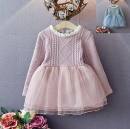 Wholesale Best Quality Spring Fall Children sweater Dress girls korean style Pink blue colors long sleeve