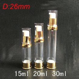30ml clean airless bottle with UV gold pump and bottom &clean lid ,30 ml lotion bottle Cosmetic, Container Refillable Bottles