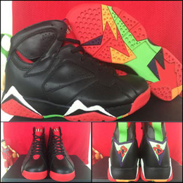 Wholesale with shoes Box Hot Sale Retro VII BG GS Marvin The Martian Black Red Green Grey Men Basketball Sports airs Kids shoes