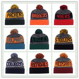 Wholesale Hot Sale Winter Hat American Football Team Pom Pom Beanies Heather Gray Sideline Sport Knit Hat Basketball Skullies Mix Order