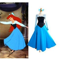 Wholesale Real Picture The Little Mermaid Princess Ariel Dress Custom Made Sleeping Beauty Adult Cosplay Costume Halloween Role Play Prom Gowns BM