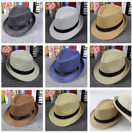 400pcs fashion Men Women Straw Hats Soft Fedora Panama Hats Outdoor Stingy Brim Caps 8 Colors Choose D757