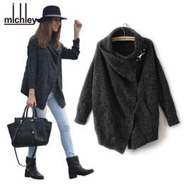 Promotion noir cardigan tricoté Gros-Michley 2016 Thickening femmes cachemire noir d'hiver Pull New Fashion Cardigan en maille noir Poncho Femininos Casacos Top176