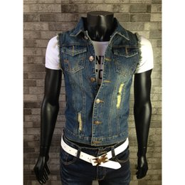 Vêtements grande taille pour homme 3XS-3XL veste en denim pour homme veste en mousseline de soie sans manches slim fit denim jackets deals à partir de mince vestes en denim ajustement fournisseurs