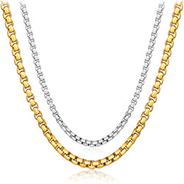 Wholesale 4MM 18K Gold Filled GF Necklace MENS Boys Chain High Quality Box Chain 16-24 Inches Fashion Fine Jewelry Gift