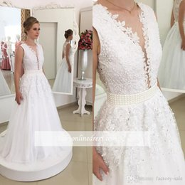Wholesale Sexy Design Wedding Gown - 2017 New Design Plunging Deep V Neck Lace Wedding Dresses Sexy Backless with Buttons Appliques Chiffon Long Bridal Gowns Pearls Fitted Sash