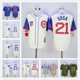 Chicago Cubs #21 Sammy Sosa 1929 1942 Cream Majestic Gray Blue White Prinstripes Green Baseball Jerseys