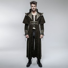 Wholesale Fall Punk Rave Mens Coat Long Jacket Black Gothic Steampunk VTG Regency Highwayman