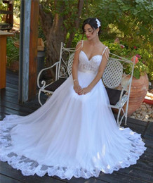 Real Image 2016 Wedding Dresses Lace Tulle A-Line Spaghetti Straps Pearls Applique Chapel Train Sleeveless Custom Made Bridal Ball Gowns