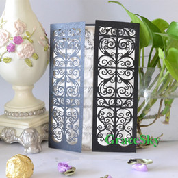 50pcs lot Free shipping Laser Cut Lace whirling vine Pattern Paper Wedding Birthday X'mas Party Paper Invitation Card with Inner Blank Sheet