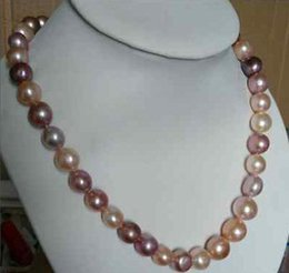 Noble 10-12mm Natural Pink Purple South Seas Pearl Necklace 18inch 14k Gold Clasp