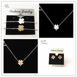 Wholesale 10sets Minimalist Vintage Luck Clover Pendant Necklace Stud Earrings Bracelet African Jewelry Sets for Women
