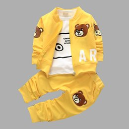 Wholesale Stylish simplicity big Fang Chunqiu new children suit three piece cotton baby boys Autumn Bear Factory Direct