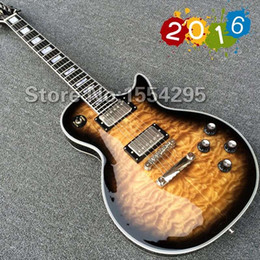 Wholesale NEW Arrival LP Custom Electric Guitar with TonePros Ebony fretboard fret nib binding Quilted Maple Top back Brown burst color