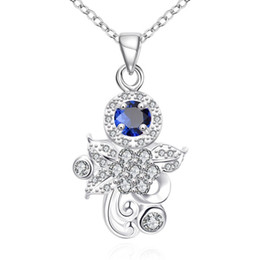 Brand new fashion flower shape 925 silver Pendant Necklaces STPN124A, best gift bluie gemstone sterling silver jewelry necklace