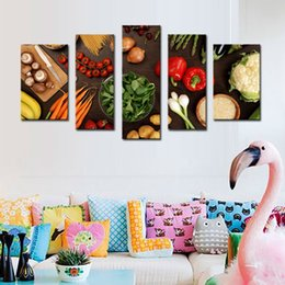 Wholesale 5 Picture Combination Wall Art Table Top Full Of Fresh Vegetables Fruit And Other Healthy Foods Print On Canvas For Home Decoration
