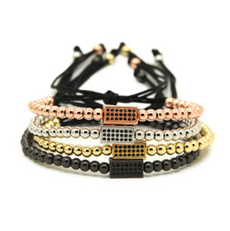 Wholesale 10pcs lot 4mm Gold, Rose Gold, Platinum &Black Round Beads with rectangle Black CZ Beads Braiding Macrame Bracelet