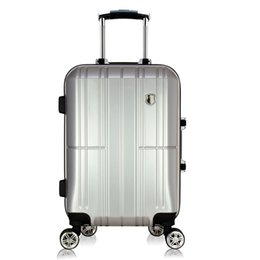 Wholesale High quality quot inches extrusion ABS PC aluminum frame Travel luggage rolling suitcase customs Password lock men Boarding