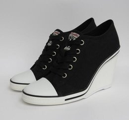 Wholesale Top Quality Ash Women s Thelma Black Canvas Wedge Sneakers Lace Up Fashion Ankle Boots Canvas Hot Sale Tide Casual Sport Shoes Size