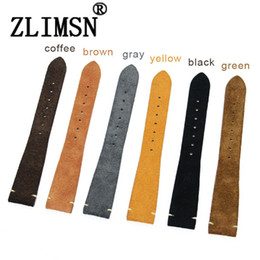 ZLIMSN Watch Strap Band Loop Leather Bracelet Silicone Wrist Replacement 20mm Genuine Leather Watchbands Black Bands Belt Buckle