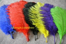Free shipping 100pcs lot 20-22inch(50-55cm) white black red orange hot pink blue purple yellow Green Gold turquoise ostrich Feather plume